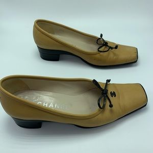 Authentic Square Toe Vintage Chanel Logo Heels